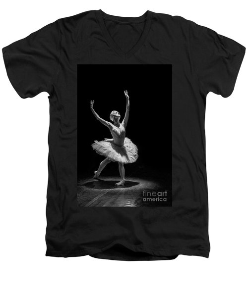 Dying Swan 6. Men's V-Neck T-Shirt by Clare Bambers