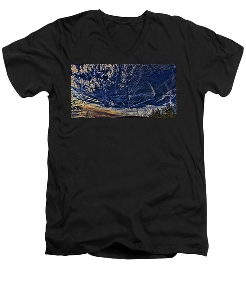Dynamic Skyscape Men's V-Neck T-Shirt by Tom Culver