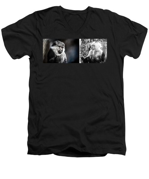 Men's V-Neck T-Shirt featuring the photograph diptych Last hope of Freedom  by Stwayne Keubrick