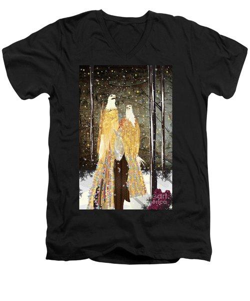 Winter Dress Men's V-Neck T-Shirt by Kim Prowse