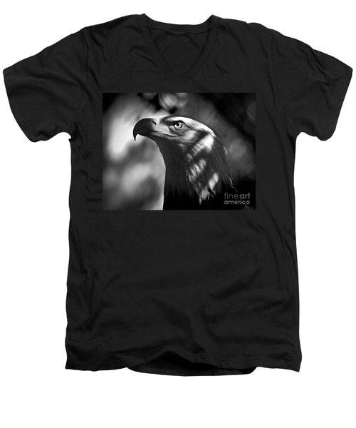 Eagle In Shadows Men's V-Neck T-Shirt by Robert Frederick