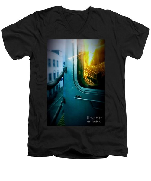 Men's V-Neck T-Shirt featuring the photograph Early Morning Commute by James Aiken