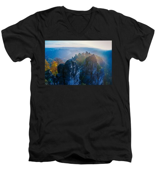Early Morning Mist At The Bastei In The Saxon Switzerland Men's V-Neck T-Shirt