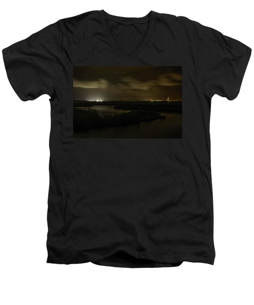 Men's V-Neck T-Shirt featuring the digital art Early Morning Over Lake Shelby by Michael Thomas
