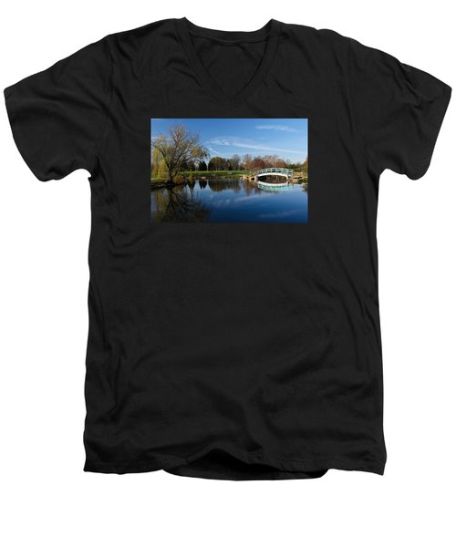 Men's V-Neck T-Shirt featuring the photograph Early Morning Retreat by Julie Andel