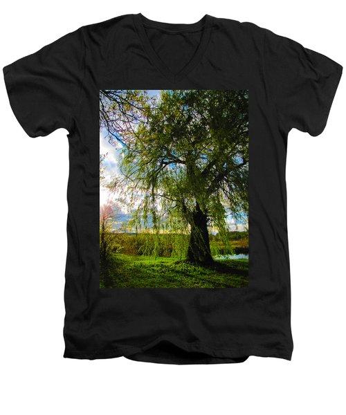 Earth Green Not Avatar Blue Men's V-Neck T-Shirt