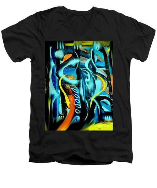 Men's V-Neck T-Shirt featuring the painting Imagination -  by Yul Olaivar