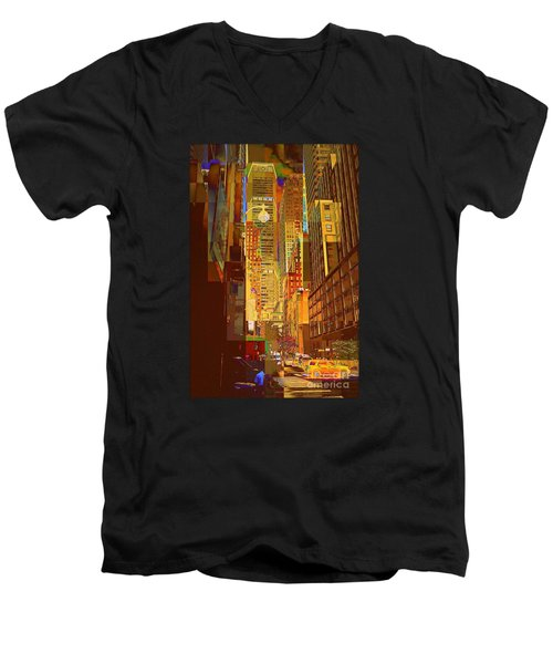 East 45th Street - New York City Men's V-Neck T-Shirt by Miriam Danar