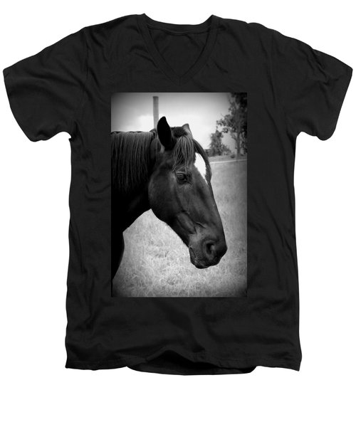Men's V-Neck T-Shirt featuring the photograph Ebony Beauty by Laurie Perry