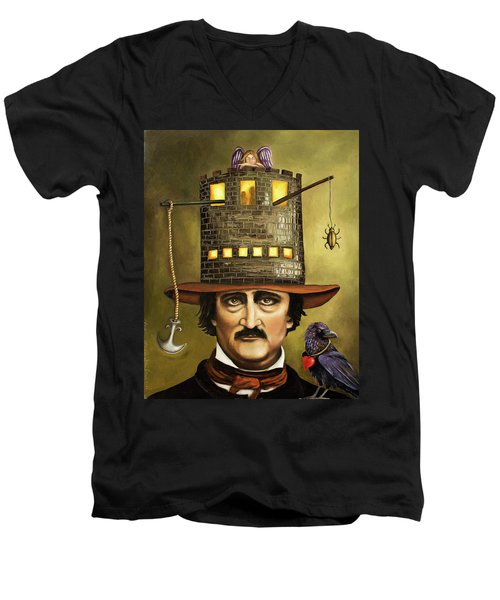 Edgar Allan Poe Men's V-Neck T-Shirt by Leah Saulnier The Painting Maniac