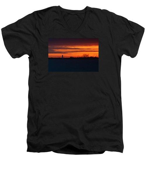 Men's V-Neck T-Shirt featuring the photograph Egmont Key Lighthouse Sunset by Paul Rebmann