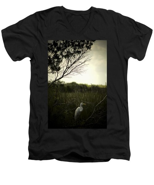 Egret At Sunset Men's V-Neck T-Shirt