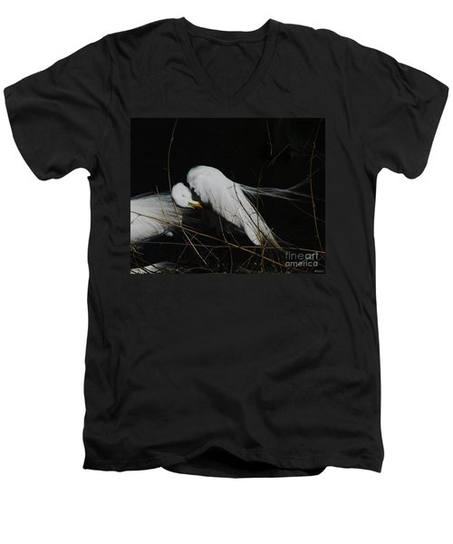 Egret Bird City At Avery Island Louisiana Men's V-Neck T-Shirt