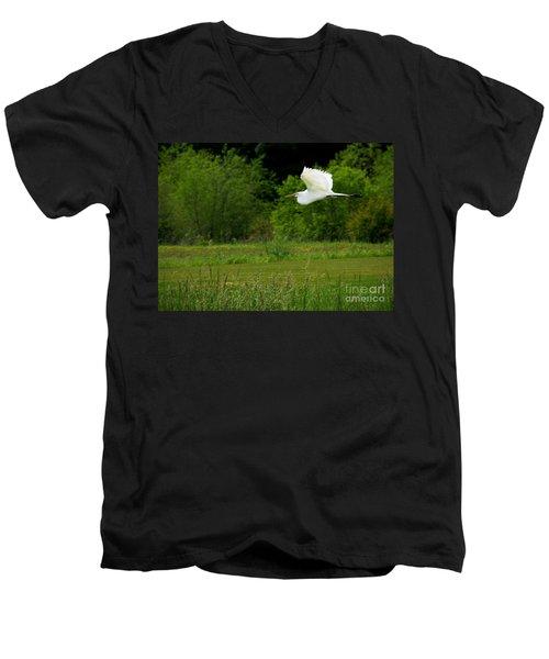 Egret's Flight Men's V-Neck T-Shirt by Liz Masoner