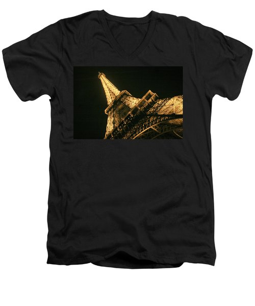 Eiffel Men's V-Neck T-Shirt by Silvia Bruno