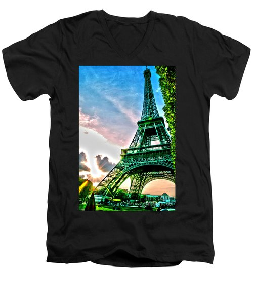 Eiffel Tower 8 Men's V-Neck T-Shirt by Micah May