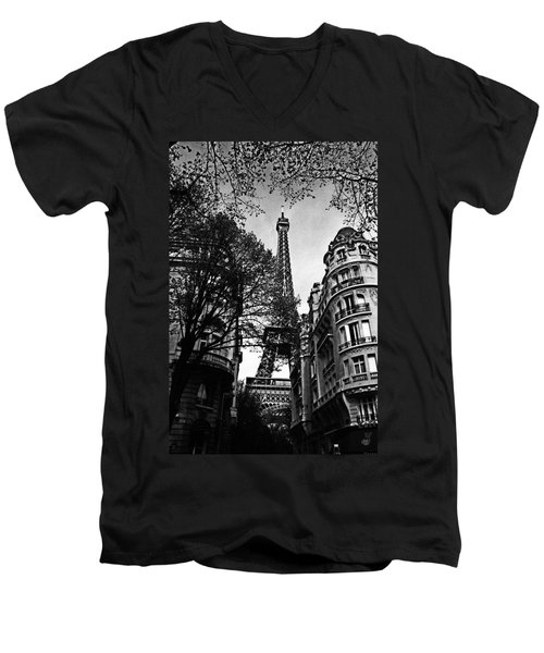 Eiffel Tower Black And White Men's V-Neck T-Shirt