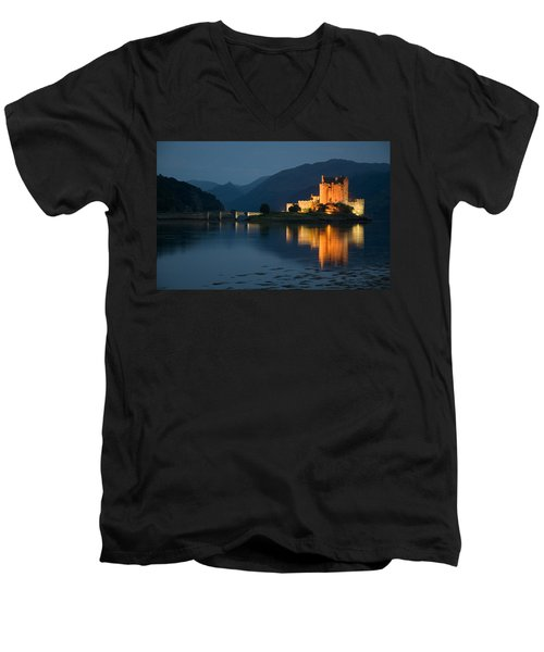 Eilean Donan Castle At Night Men's V-Neck T-Shirt by Jeremy Voisey
