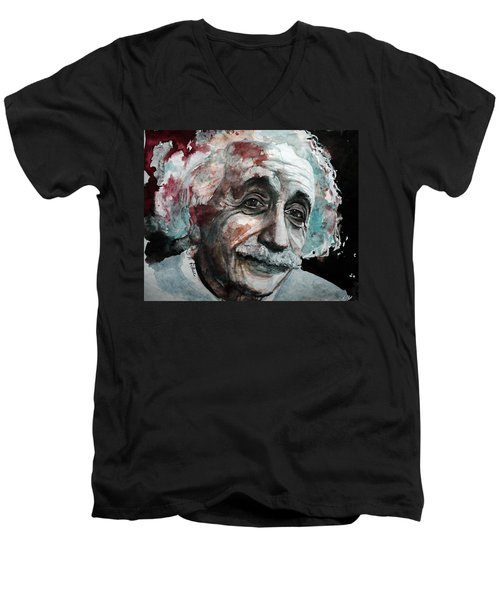 Men's V-Neck T-Shirt featuring the painting Einstein  by Laur Iduc