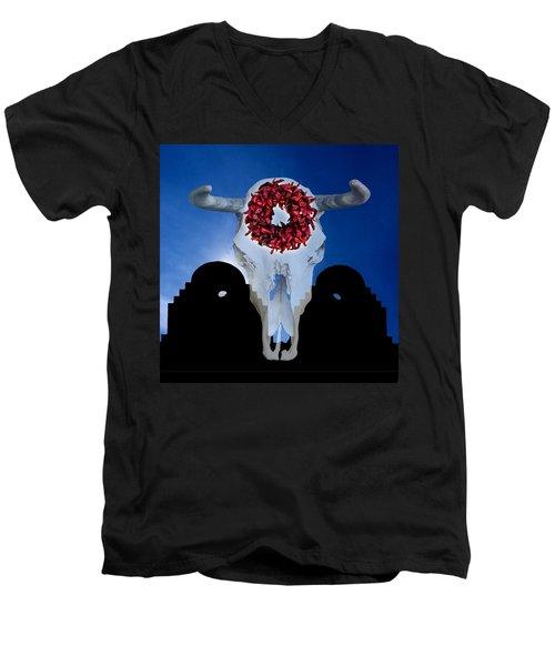El Dia Los Muertos In Santa Fe Men's V-Neck T-Shirt by Gary Warnimont