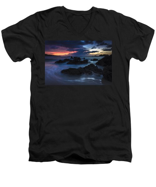 Men's V-Neck T-Shirt featuring the photograph El Villar Beach Galicia Spain by Pablo Avanzini