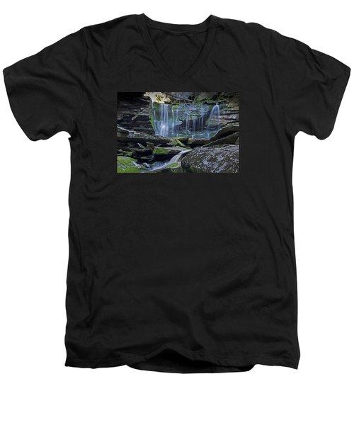Elakala Falls Number 1 Men's V-Neck T-Shirt by Shelly Gunderson