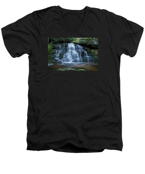Elakala Falls Number 2 Men's V-Neck T-Shirt by Shelly Gunderson
