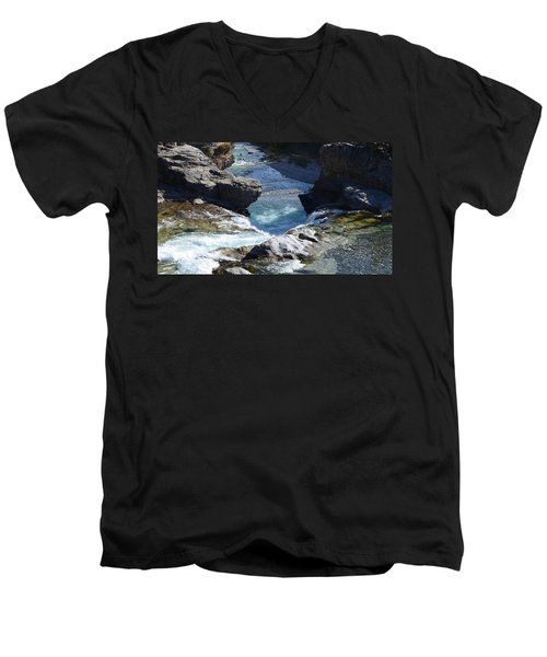 Elbow Falls Men's V-Neck T-Shirt by Cheryl Miller