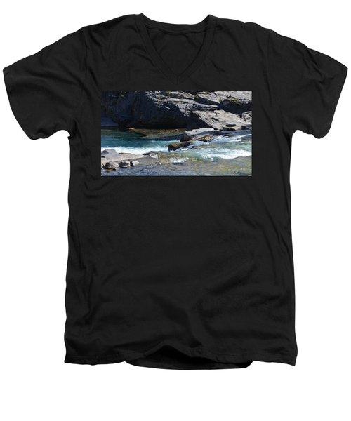 Elbow Falls Landscape Men's V-Neck T-Shirt by Cheryl Miller