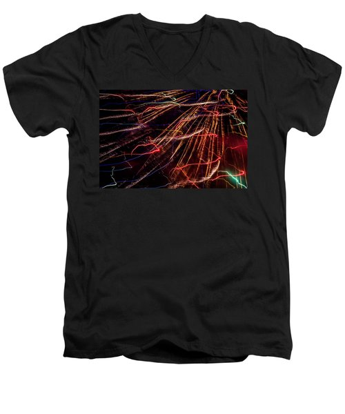 Electricity Men's V-Neck T-Shirt by Sara Frank