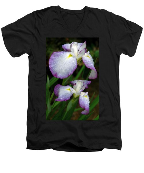 Elegant Purple Iris Men's V-Neck T-Shirt by Marie Hicks
