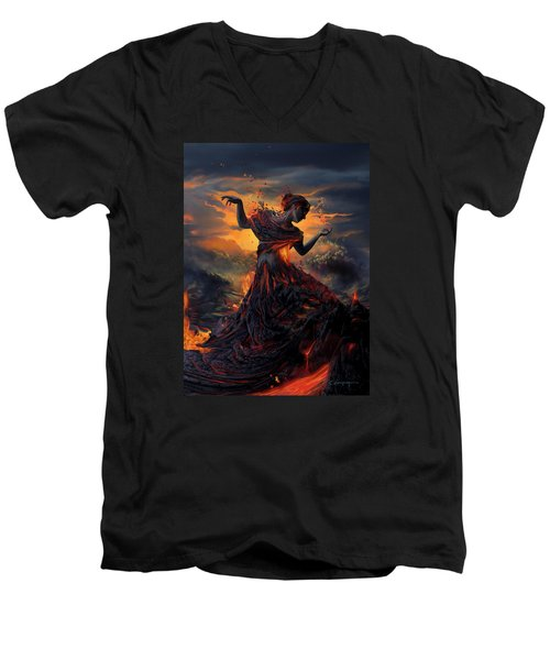 Elements - Fire Men's V-Neck T-Shirt by Cassiopeia Art