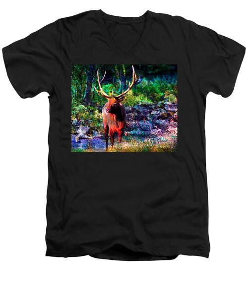 Men's V-Neck T-Shirt featuring the painting Elk In The Wilderness by Annie Zeno