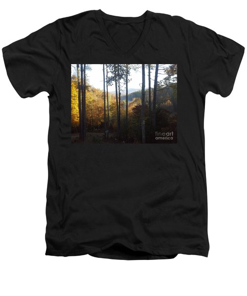 Men's V-Neck T-Shirt featuring the painting Ellijay Color by Jan Dappen