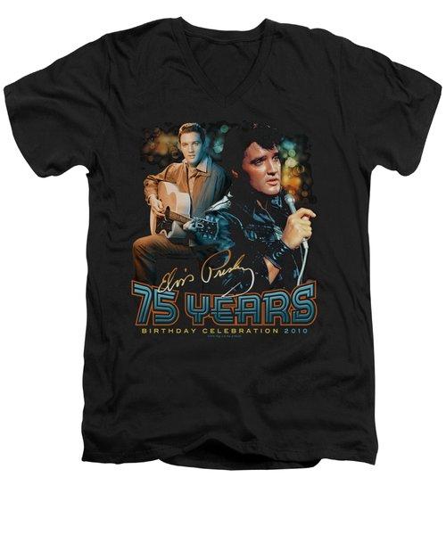 Elvis - 75 Years Men's V-Neck T-Shirt