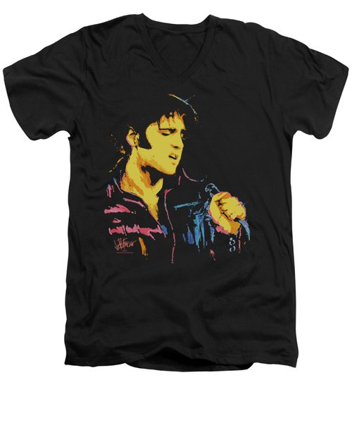 Elvis - Neon Elvis Men's V-Neck T-Shirt by Brand A