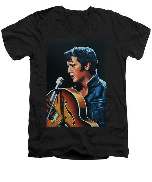 Elvis Presley 3 Painting Men's V-Neck T-Shirt by Paul Meijering