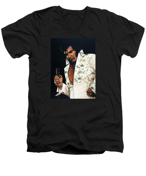 Elvis Presley Painting Men's V-Neck T-Shirt by Paul Meijering