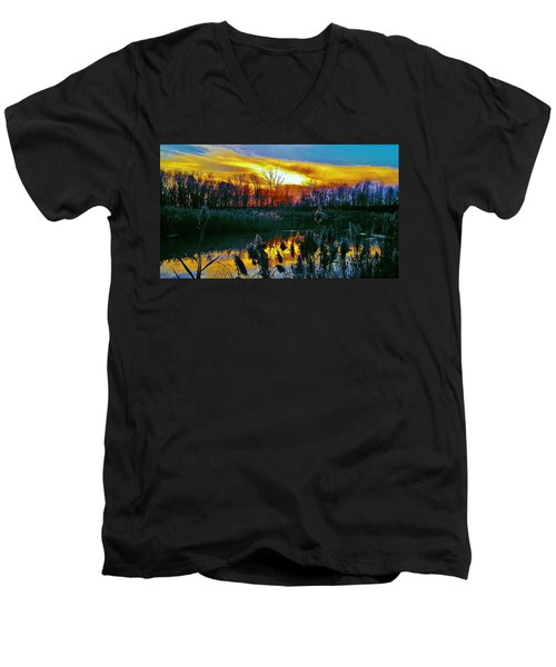 Men's V-Neck T-Shirt featuring the photograph Emagin Sunset by Daniel Thompson