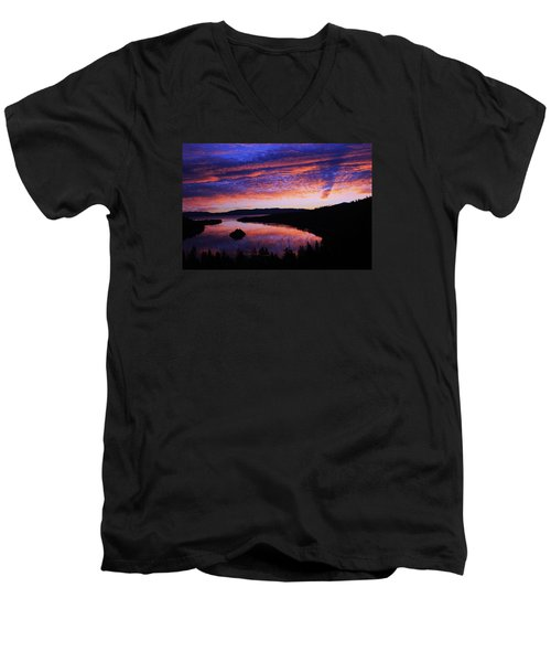 Men's V-Neck T-Shirt featuring the photograph Emerald Bay Awakens by Sean Sarsfield
