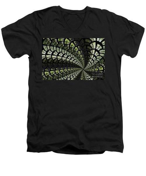 Men's V-Neck T-Shirt featuring the photograph Emerald Whirl. by Clare Bambers