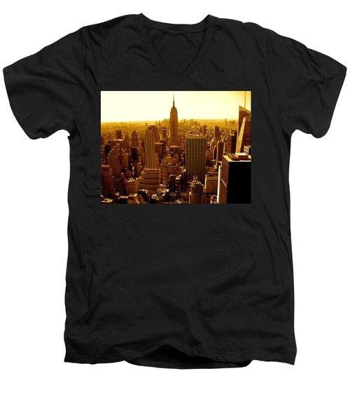 Manhattan And Empire State Building Men's V-Neck T-Shirt