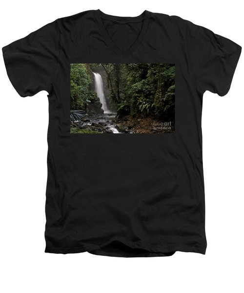 Men's V-Neck T-Shirt featuring the photograph Encantada Waterfall Costa Rica by Teresa Zieba