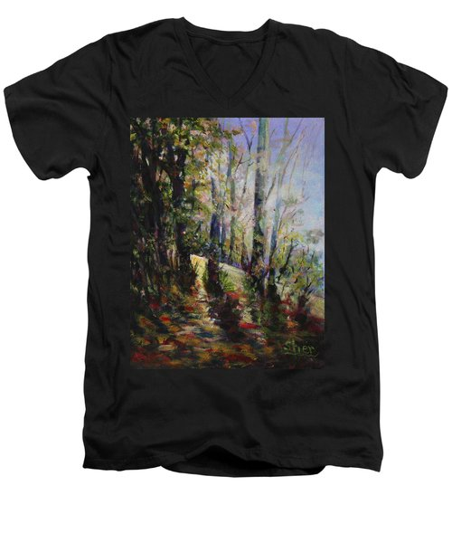 Men's V-Neck T-Shirt featuring the painting Enchanted Forest by Sher Nasser