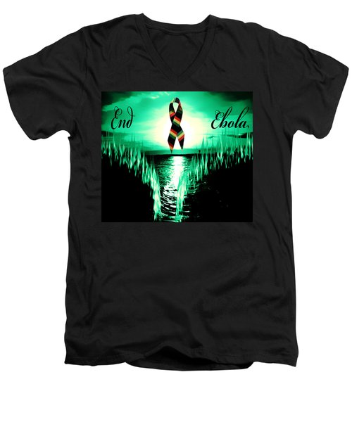 Men's V-Neck T-Shirt featuring the photograph End Ebola by Eddie Eastwood
