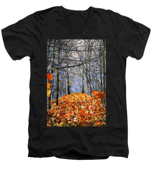 End Of Autumn Men's V-Neck T-Shirt by Bruce Nutting