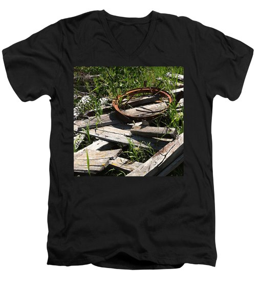 Men's V-Neck T-Shirt featuring the photograph End Of The Line by Meghan at FireBonnet Art