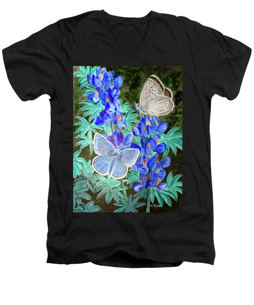 Endangered Mission Blue Butterfly Men's V-Neck T-Shirt by Mike Robles