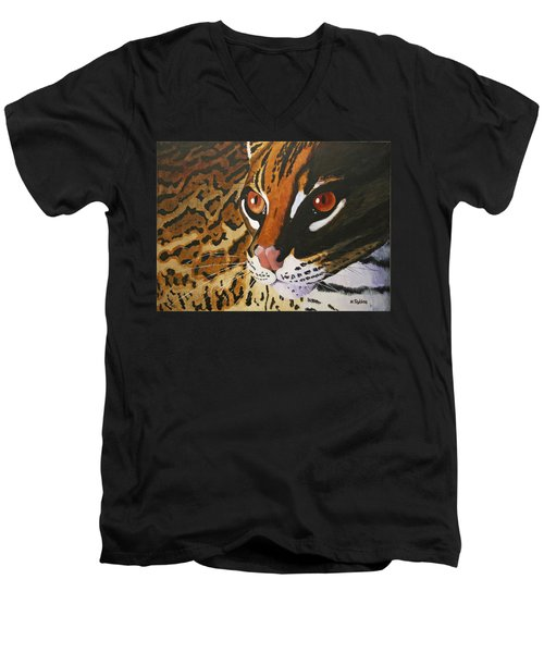 Endangered - Ocelot Men's V-Neck T-Shirt by Mike Robles