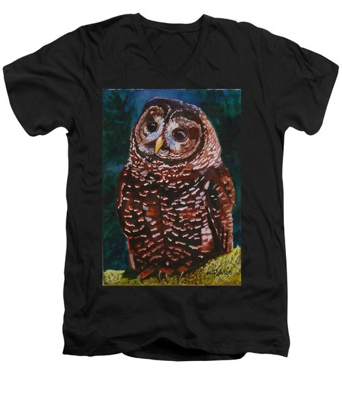 Endangered - Spotted Owl Men's V-Neck T-Shirt by Mike Robles